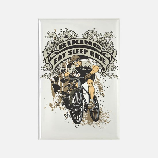 Eat Sleep Ride Biking Rectangle Magnet