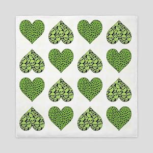 GREEN HEARTS Queen Duvet