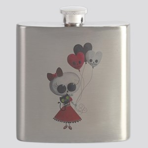 Cute Skeleton Girl with Spooky Balloons Flask