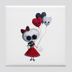 Cute Skeleton Girl with Spooky Balloons Tile Coast