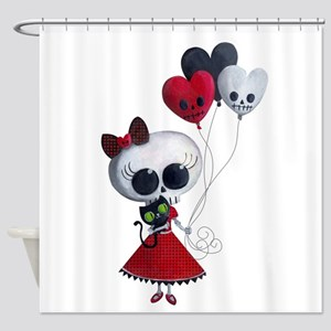 Cute Skeleton Girl with Spooky Balloons Shower Cur