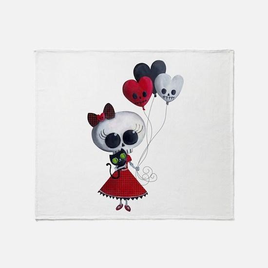 Cute Skeleton Girl with Spooky Balloons Throw Blan