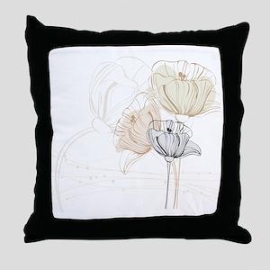 Delicate Poppy Flowers Throw Pillow