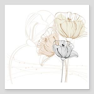 "Delicate Poppy Flowers Square Car Magnet 3"" x 3"""