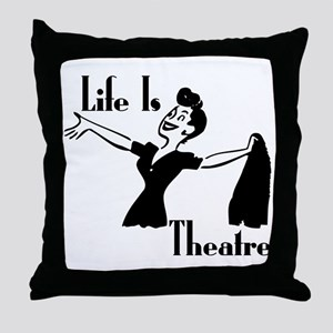 Life Is Theatre Retro Theater Throw Pillow