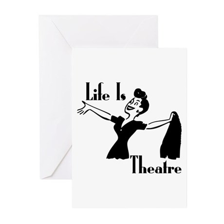 Life Is Theatre Retro Theater Greeting Cards (Pack