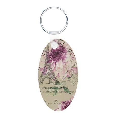 modern paris eiffel tower purple flowers Keychains