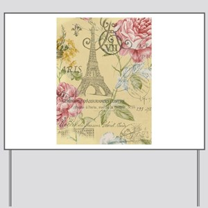 abstract paris eiffel tower vintage floral Yard Si