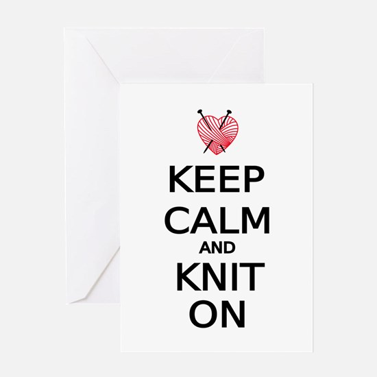 Keep calm and knit on Greeting Cards