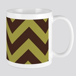 Olive and Brown Chevrons Mugs