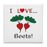 I Love Beets Tile Coaster