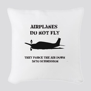 Airplane-Submission-Black Woven Throw Pillow