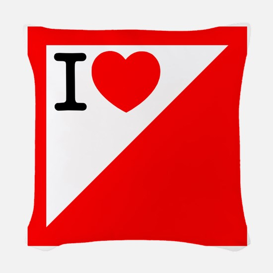 Heart Orienteering Red.png Woven Throw Pillow