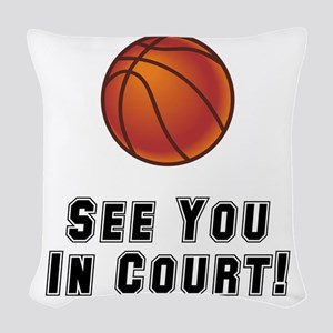 Basketball Court Black Woven Throw Pillow