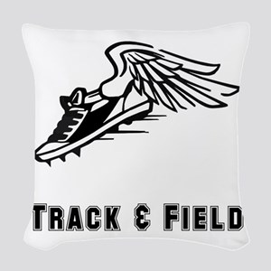 Track Field Black Only Woven Throw Pillow