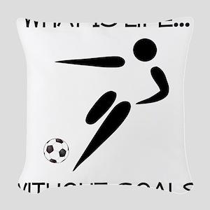 Soccer Goals Black Woven Throw Pillow