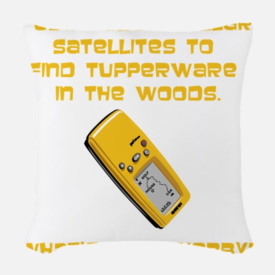 GeoCache Tupperware Yellow.png Woven Throw Pillow