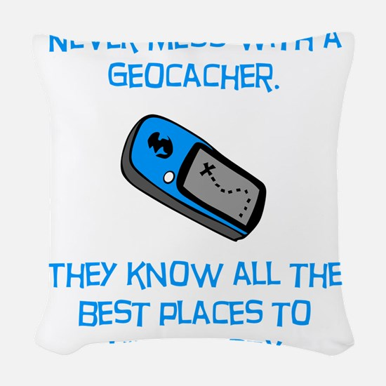 Geocacher Body Blue.png Woven Throw Pillow