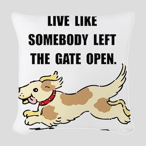 Dog Gate Open Woven Throw Pillow