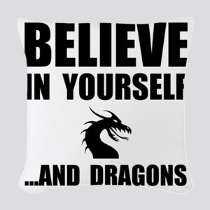 Believe Yourself Dragons Woven Throw Pillow
