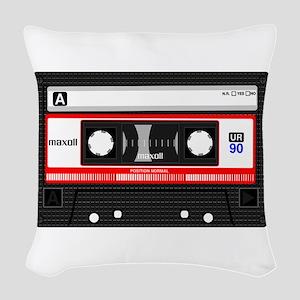 Cassette Black Woven Throw Pillow