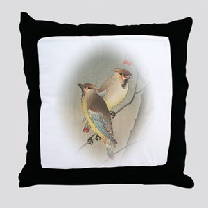 Japanese Waxwings Throw Pillow