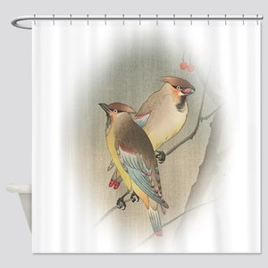Japanese Waxwings Shower Curtain