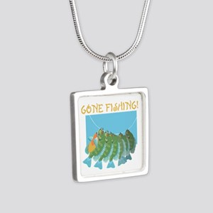 Gone Fishing! Silver Square Necklace