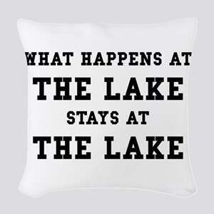 Happens At Lake Woven Throw Pillow