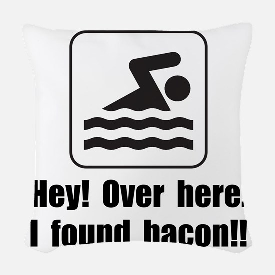 Found Bacon Woven Throw Pillow