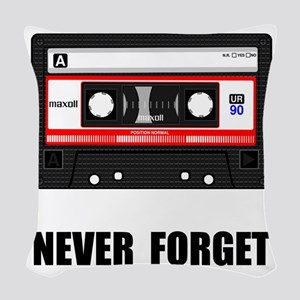 Never Forget Cassette Black Woven Throw Pillow