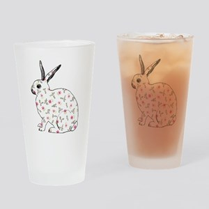 Pink Daisy Bunny Drinking Glass