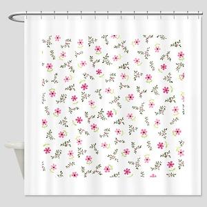 Pink Daisy Print Shower Curtain