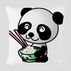 Panda Rice Black Woven Throw Pillow