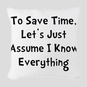 Know Everything Black Woven Throw Pillow