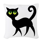 Cat With Green Eyes Woven Throw Pillow
