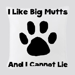 Like Big Mutts Black Woven Throw Pillow