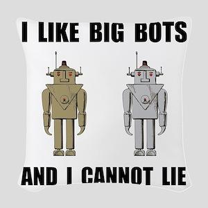 I Like Big Bots Black Woven Throw Pillow