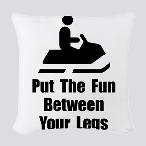 Snowmobile Fun Black Woven Throw Pillow