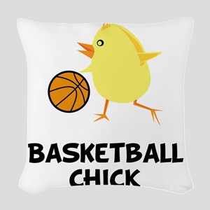 Basketball Chick Black Woven Throw Pillow