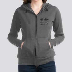 Short Attention Black Women's Zip Hoodie