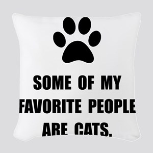 Favorite People Cats Woven Throw Pillow