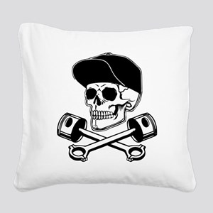 SKULL & PISTONS Square Canvas Pillow