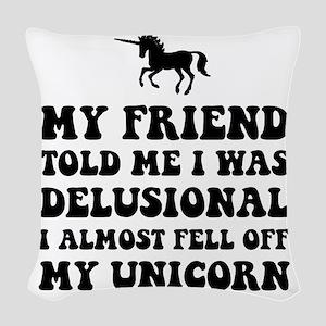 Delusional Unicorn Woven Throw Pillow