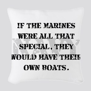 Navy Marines Boats Woven Throw Pillow