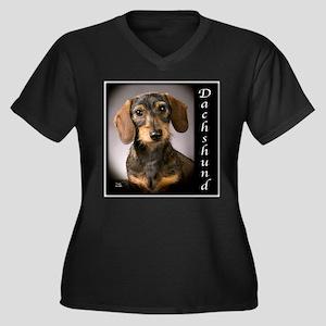 Dachshund Puppies Women's Plus Size V-Neck Dark T-