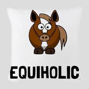 Equiholic Horse Woven Throw Pillow