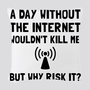 Risk It Internet Woven Throw Pillow