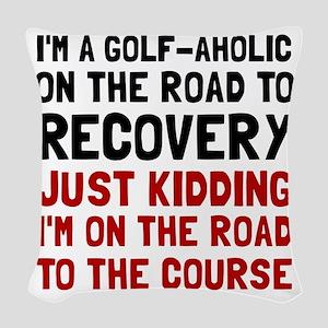 Golfaholic Woven Throw Pillow