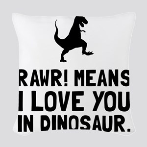 Rawr Love Dinosaur Woven Throw Pillow